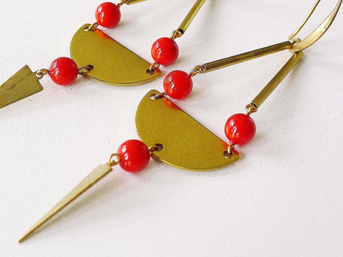 Dina Earrings (Red) | Long drop earrings | Brass earrings | Boho earrings