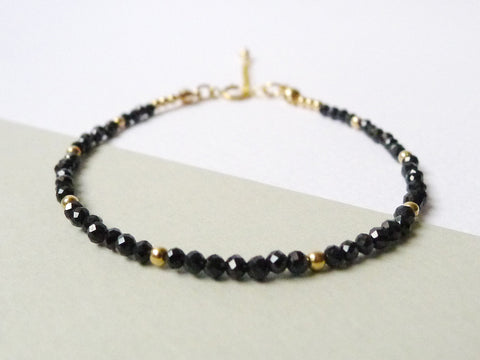 Aliysha Stacking Bracelet / Black Spinel / 14k Gold-filled