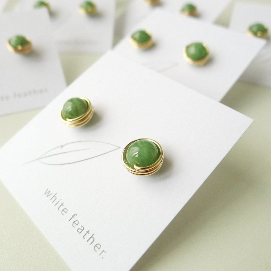 Premium Green Jade Earstuds (7mm) / 14k Gold-filled