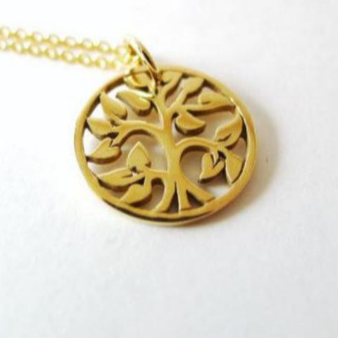 Round small Tree-of-Life Charm Necklace / Natural Bronze / 14k Goldfilled Chain