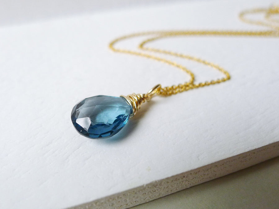 Reserved for Marilyn - London Blue Topaz Necklace / 14k Gold-filled