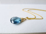 London Blue Topaz Necklace / 14k Gold-filled