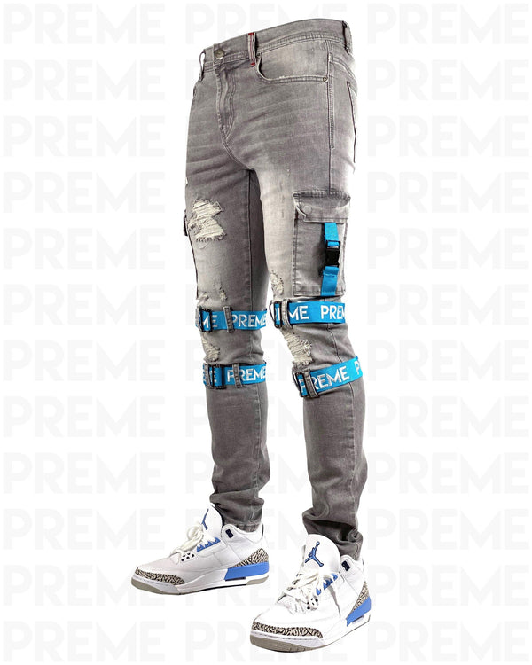 Contractor Blue Strapped Grey Jean