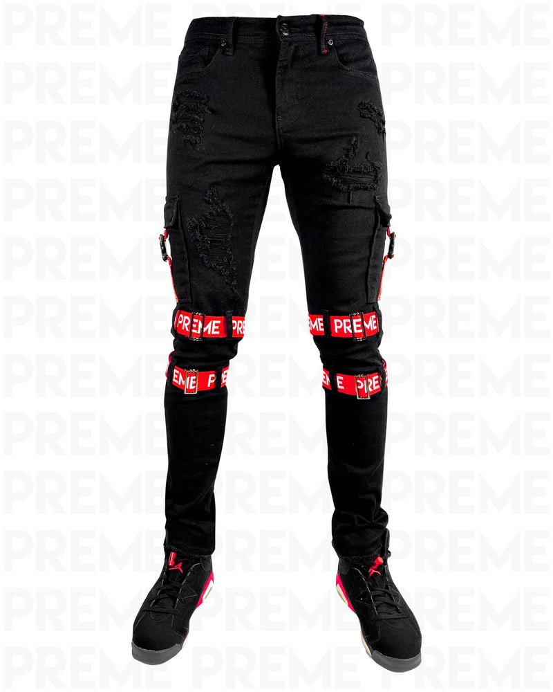 Contractor Red Strapped Black Jean
