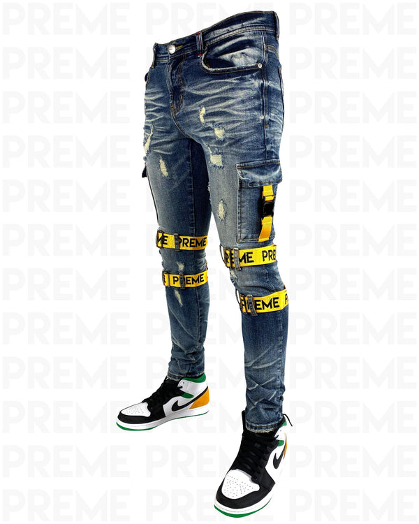 Contractor Yellow Strapped Indigo Jean