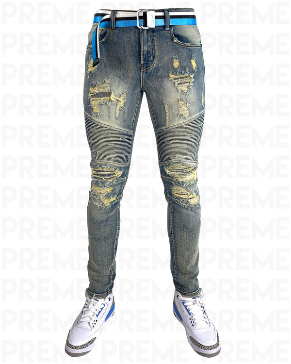 Conveyor Blue/White Belt Sand Indigo Motto Denim Jean - PREME USA