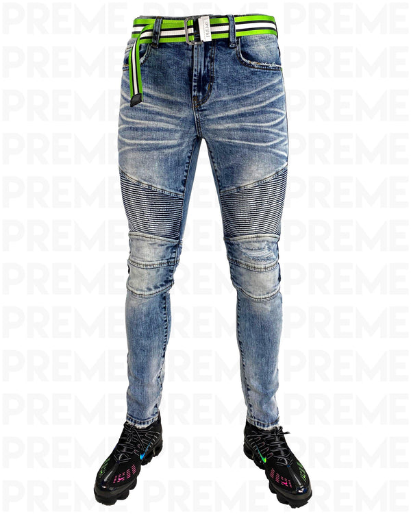 Conveyor Green/White Belt Black Denim Motto Jean - PREME USA