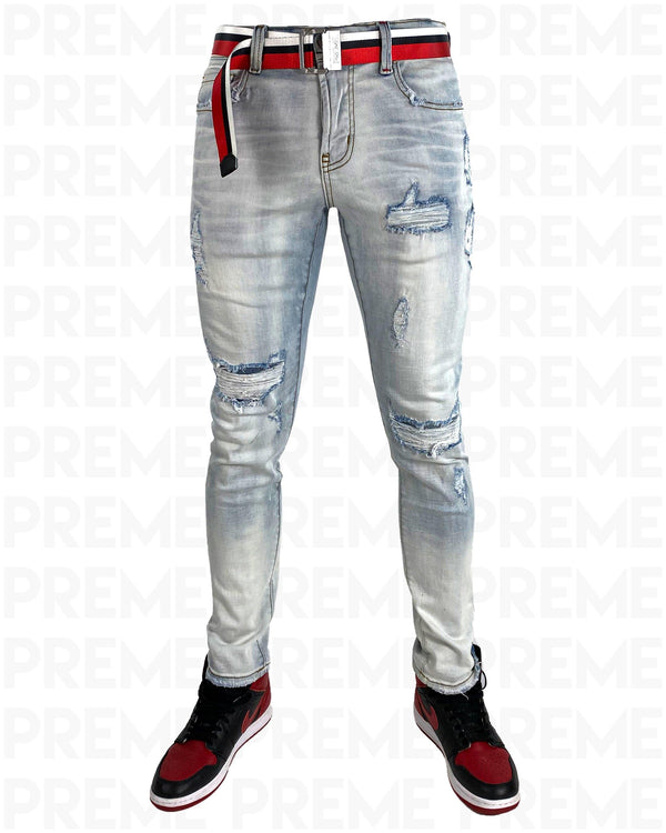Conveyor Red/White Belt Ice Indigo Denim Jean - PREME USA