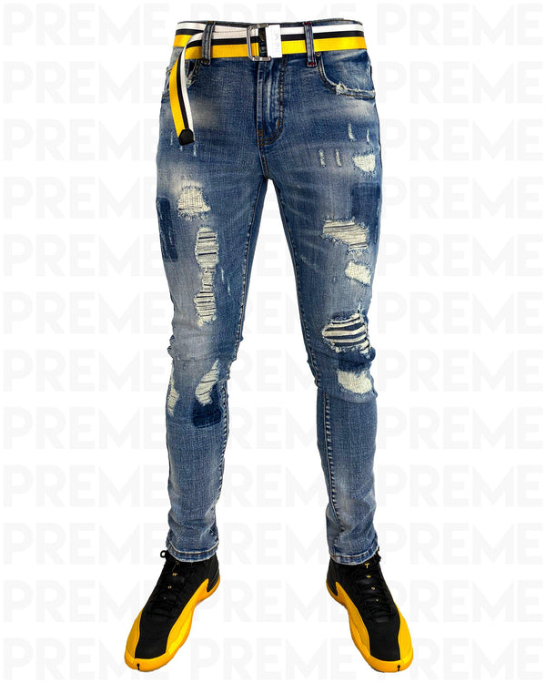 Conveyor Yellow/White Belt Indigo Denim Jean - PREME USA