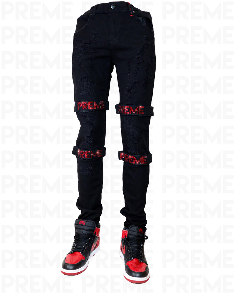 Dema Rhinestoned Strapped Black Jean - PREME USA