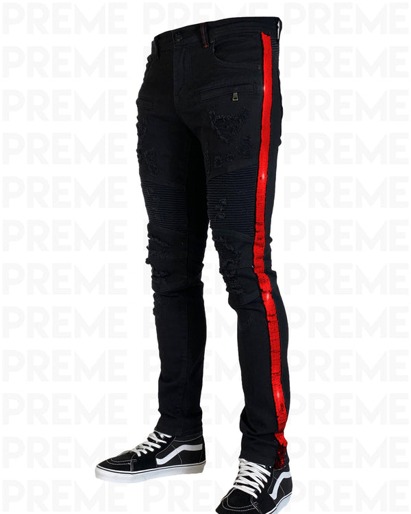 Eldredge Buffalo Black Red Sequined Denim Jean - PREME USA