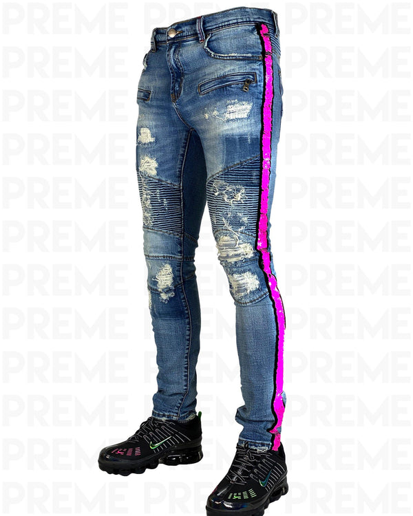 Eldredge Indigo Pink Sequined Denim Jean - PREME USA