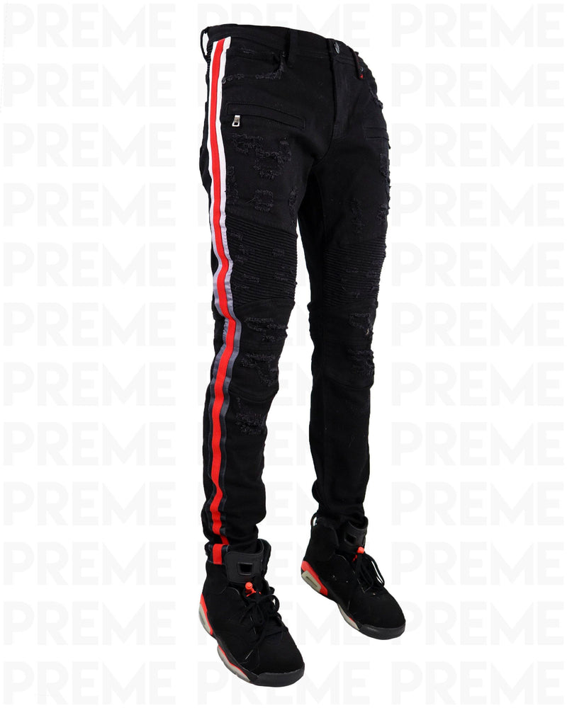 Eldredge Infrared Striped Black Jean