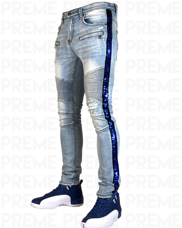 Eldredge Light Indigo Blue Sequined Denim Jean - PREME USA