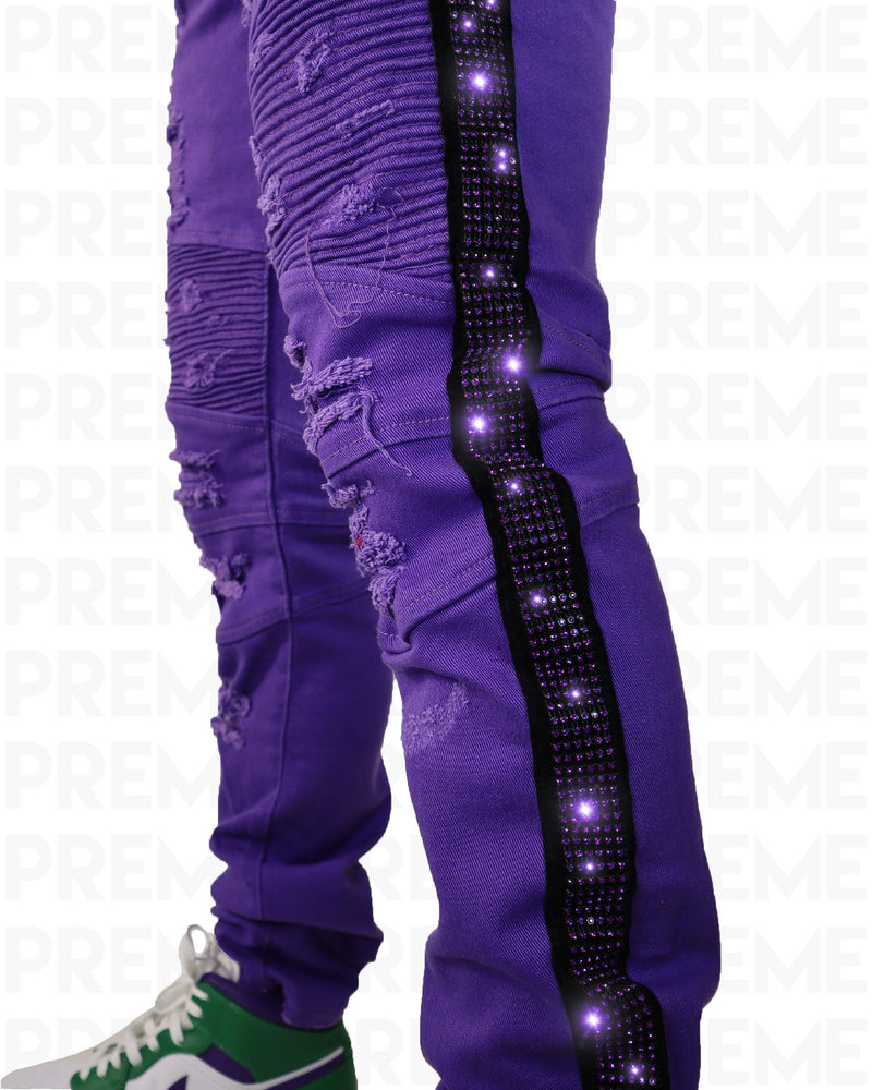 Eldredge Purple Rhinestoned Striped Purple Jean