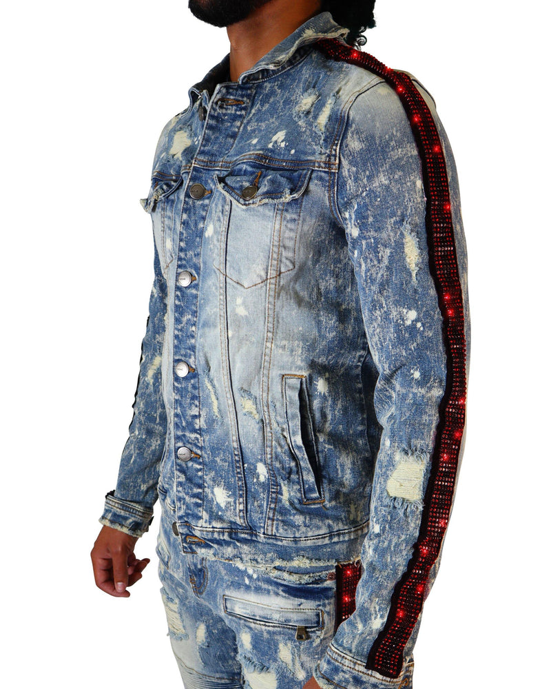 Eldredge Red/Black Rhinestoned Striped Light Indigo Denim Jacket - PREME USA