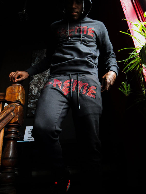 PREME Thunder Stoned Black Hoodie & Sweatpants Set