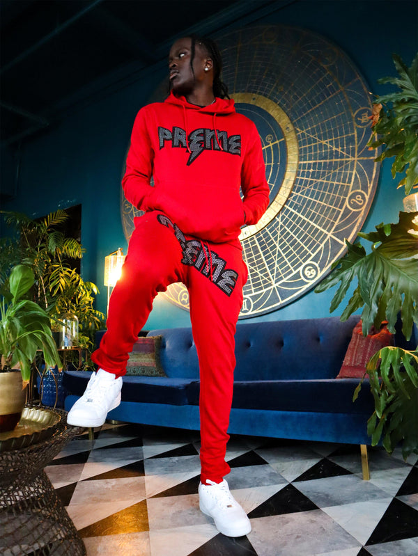 PREME Thunder Stoned Red Hoodie & Sweatpants Set