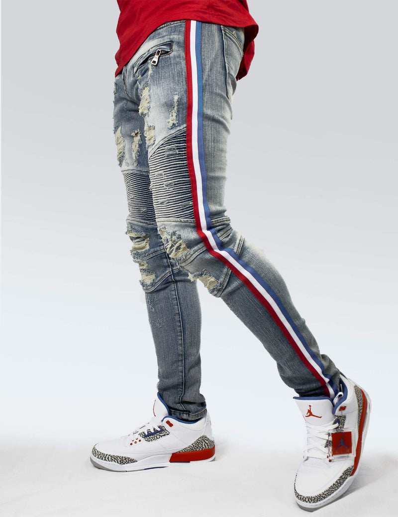 ELDREDGE Indigo Red White and Blue Stripe denim - PREME USA