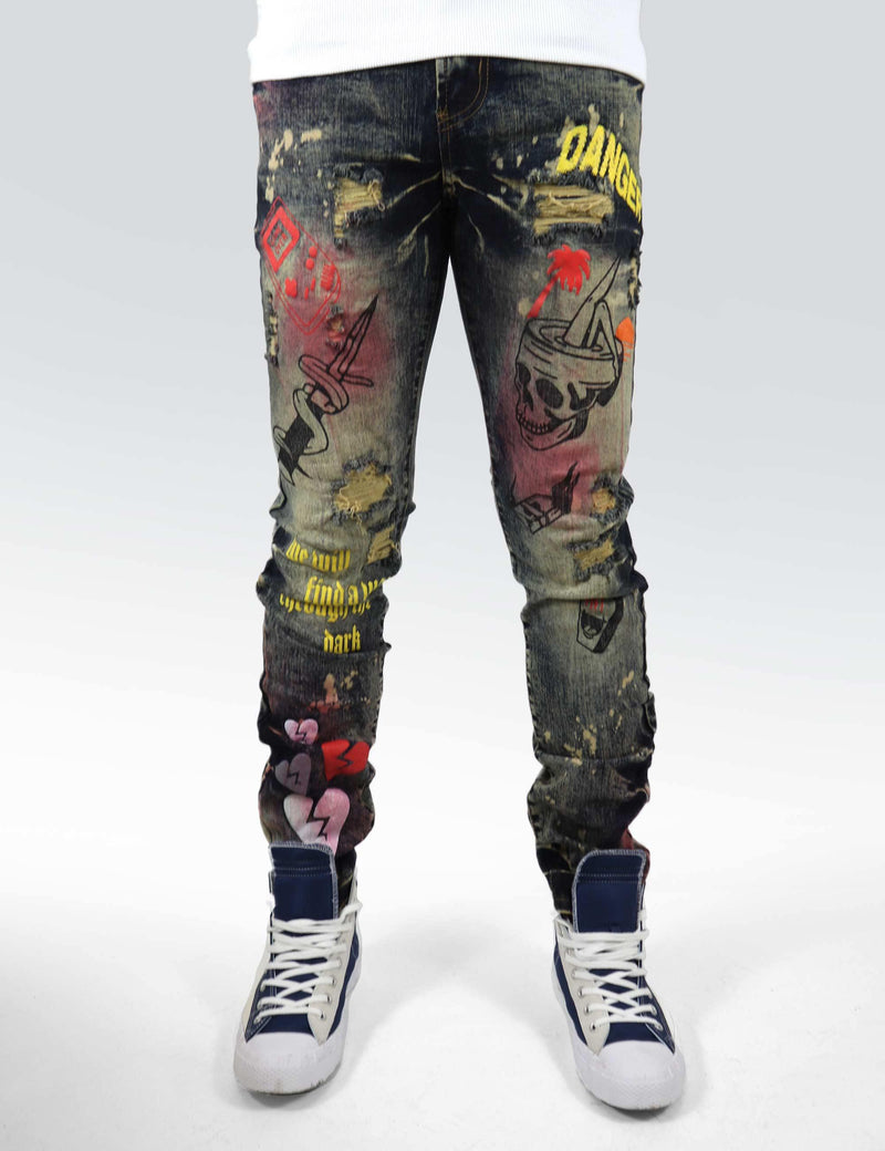 Requiem Printed Denim (dark wash spray painted)