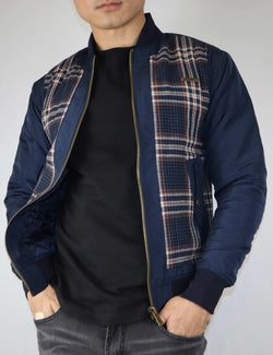 Barcelona Plaid Bomber (navy) - PREME USA
