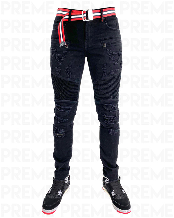 Conveyor Red/White Belt Black Denim Motto Jean - PREME USA