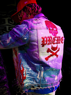 Flame Red Stoned Indigo Denim Jacket