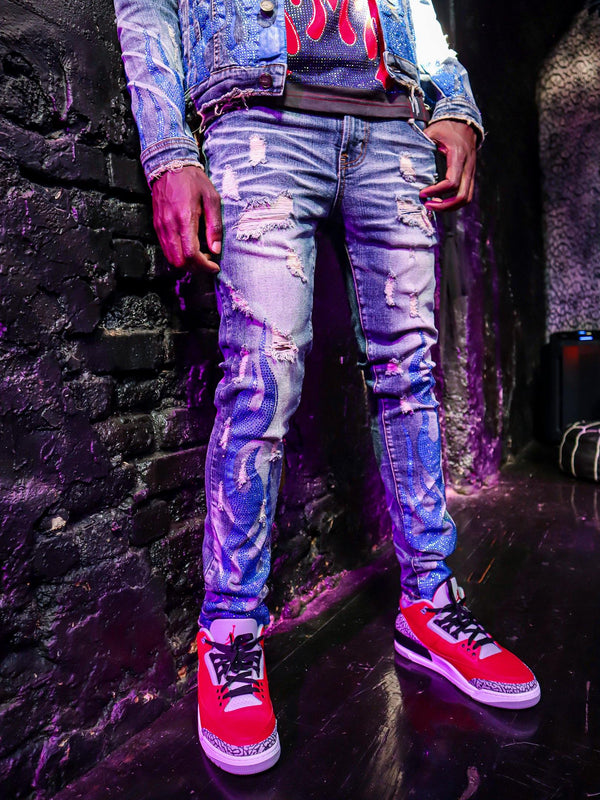 Flame Blue Stoned Denim Jean