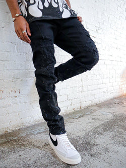 Flame Black Stoned Denim Jean