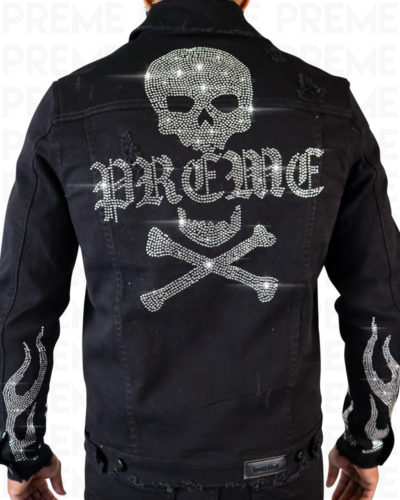 Flame Silver Stoned Black Denim Jacket