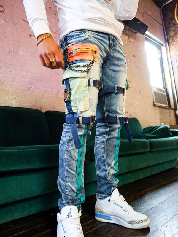 The Traveler Water Color Denim Cargo Jean