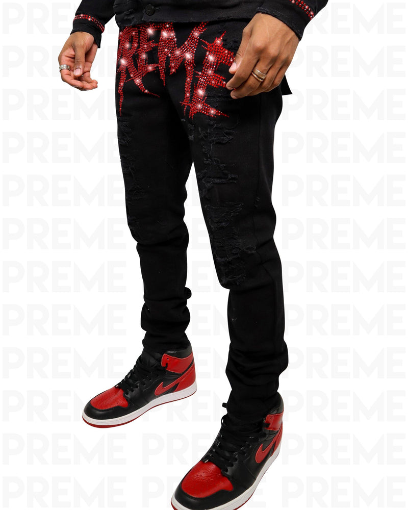 Preme Red Stoned Buffalo Black Denim Jean