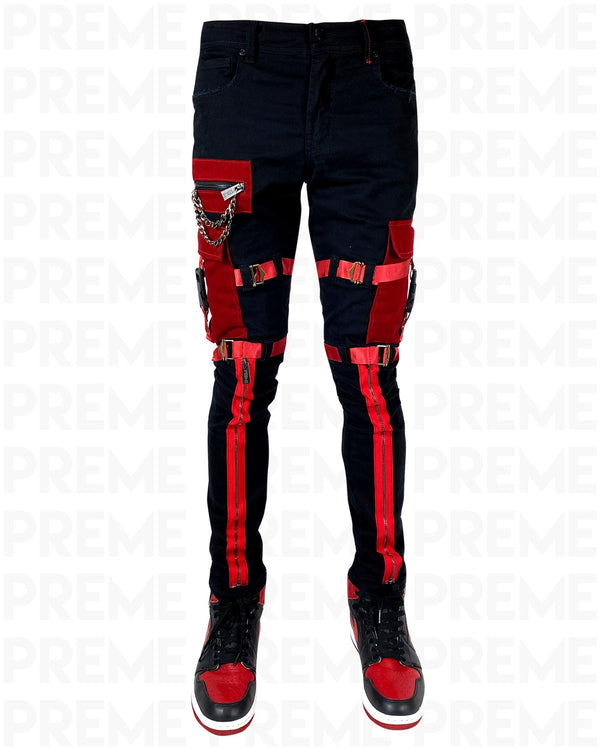 The Traveler Black/Red Twill Cargo Pant