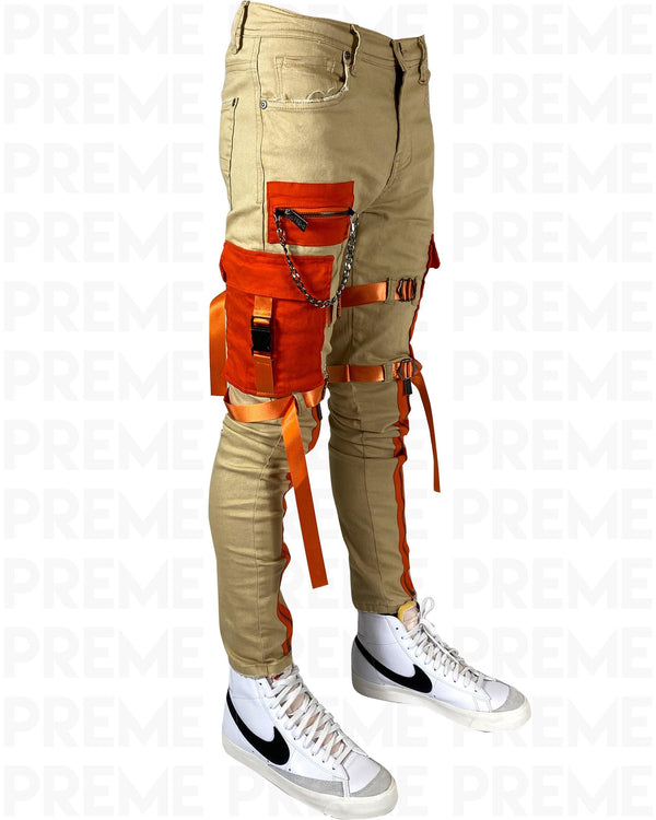 The Traveler Khaki/Orange Twill Cargo Pant