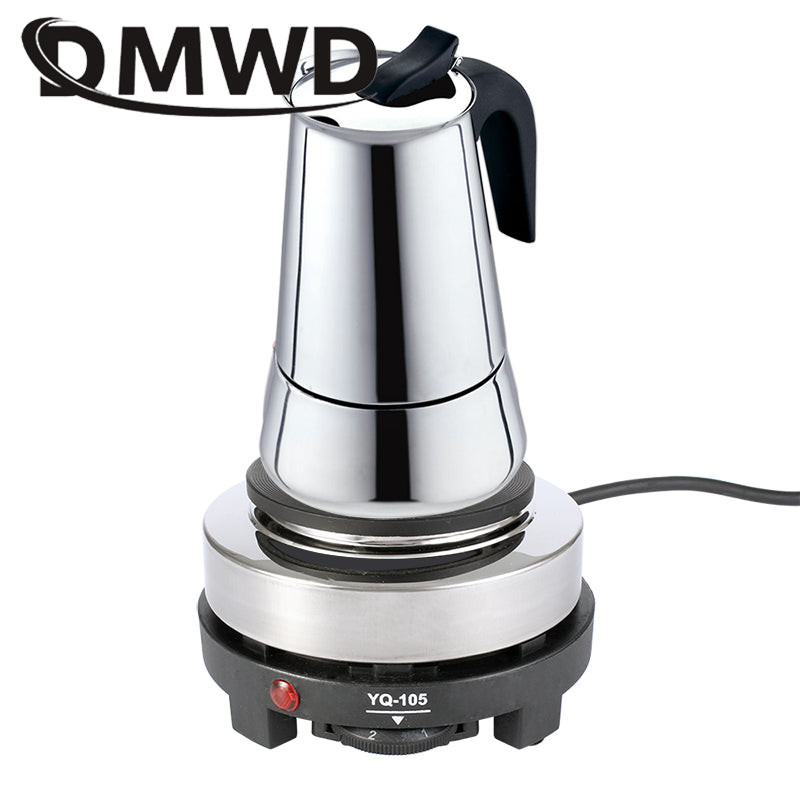 DMWD 110V/220V MINI Electric Moka Stove Oven Cooker Multifunction Coffee Heater Mocha Heating Hot Plate Water Cafe Milk Burner