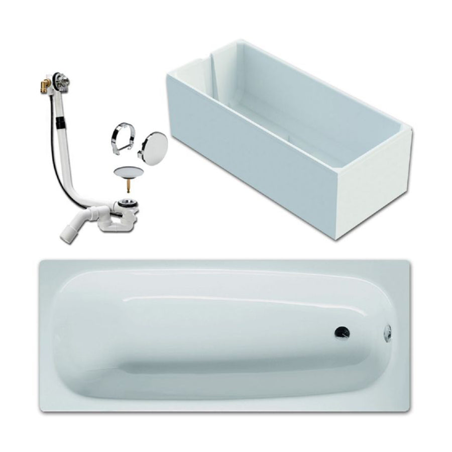 German 'Bette'  3620 Betteform Enamelled Press Steel Non-Apron Bathtub with Antislip , Anti-Noise and Without Handgrip Hole  Size: 1600x750mm  Color : White