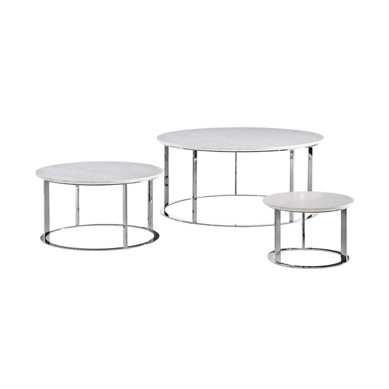 Mera MTR90_CL Small Table With Natural Carrara White Marble MTR90_CL