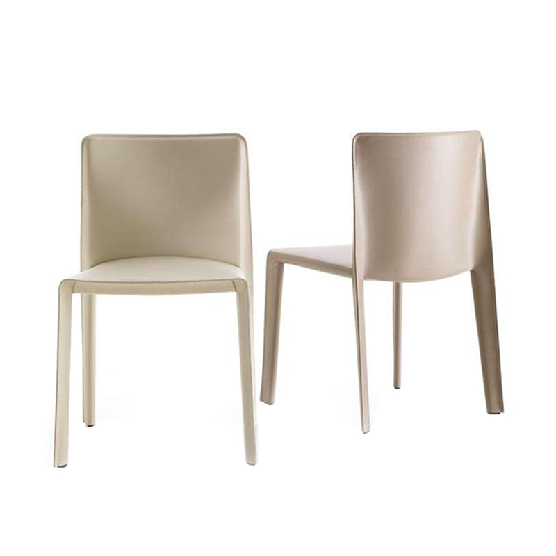 Doyl Chair In 201 Ivory Thick Leather