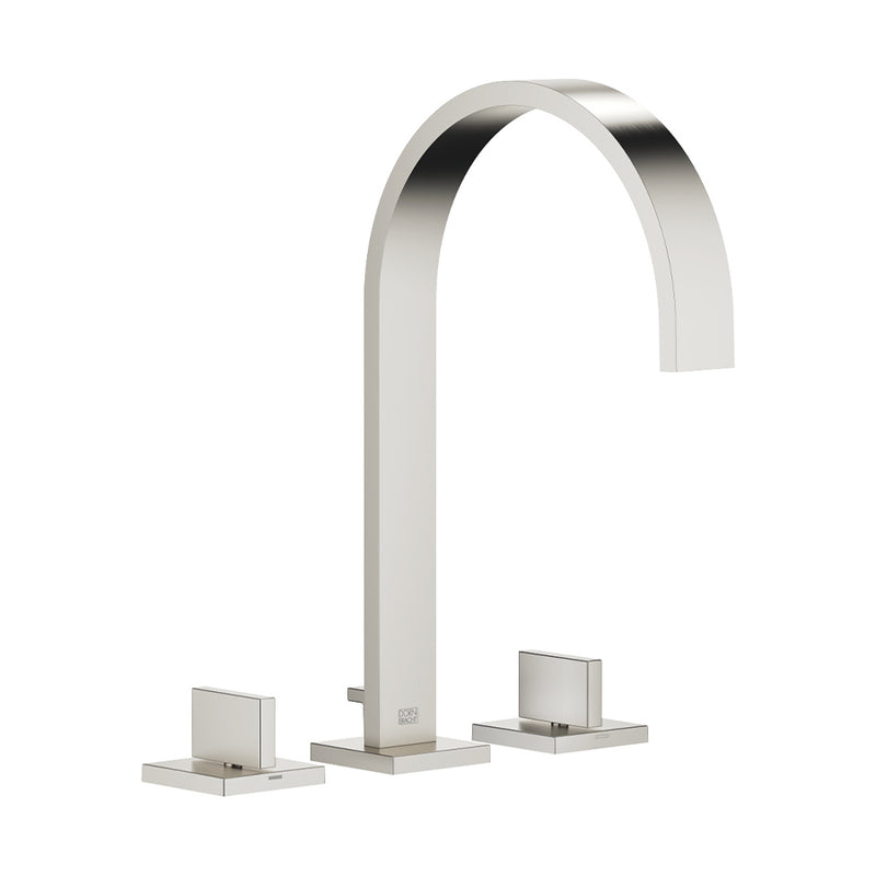 Mem 20.715.782.06 Three-Hole Basin Mixer in Platinum Matt with Individual Rosettes and 200mm Projection