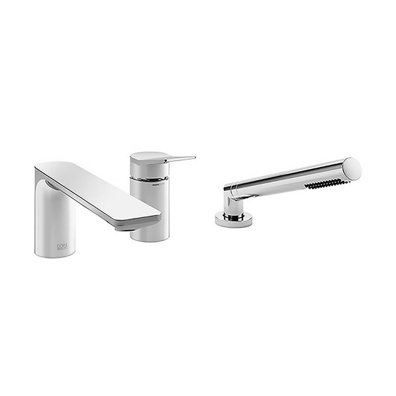 Lisse 2731284506 Three-Hole Single-Lever Bath Mixer for Bath Rim Or Tile Edge Installation in Platinum Matt