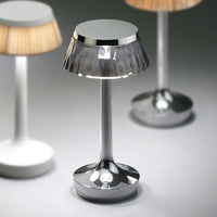 Bon Jour Unplugged Table Lamp in Matt Chrome with Transparent Lampshade