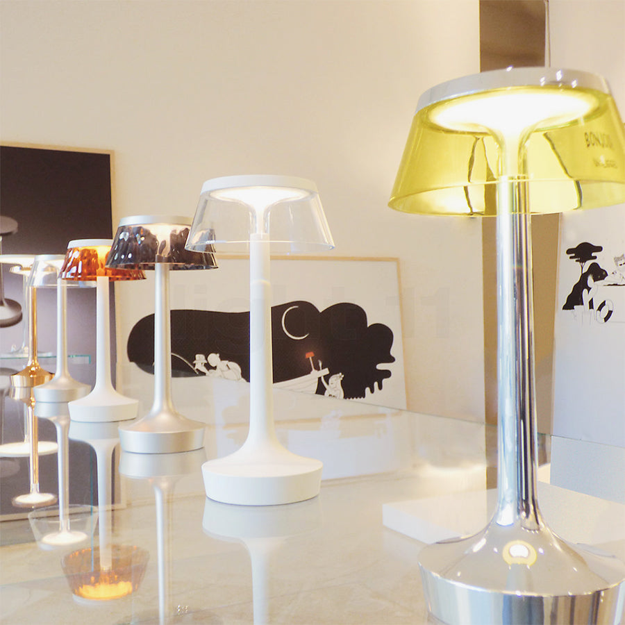Bon Jour Unplugged Table Lamps in Yellow and Chrome