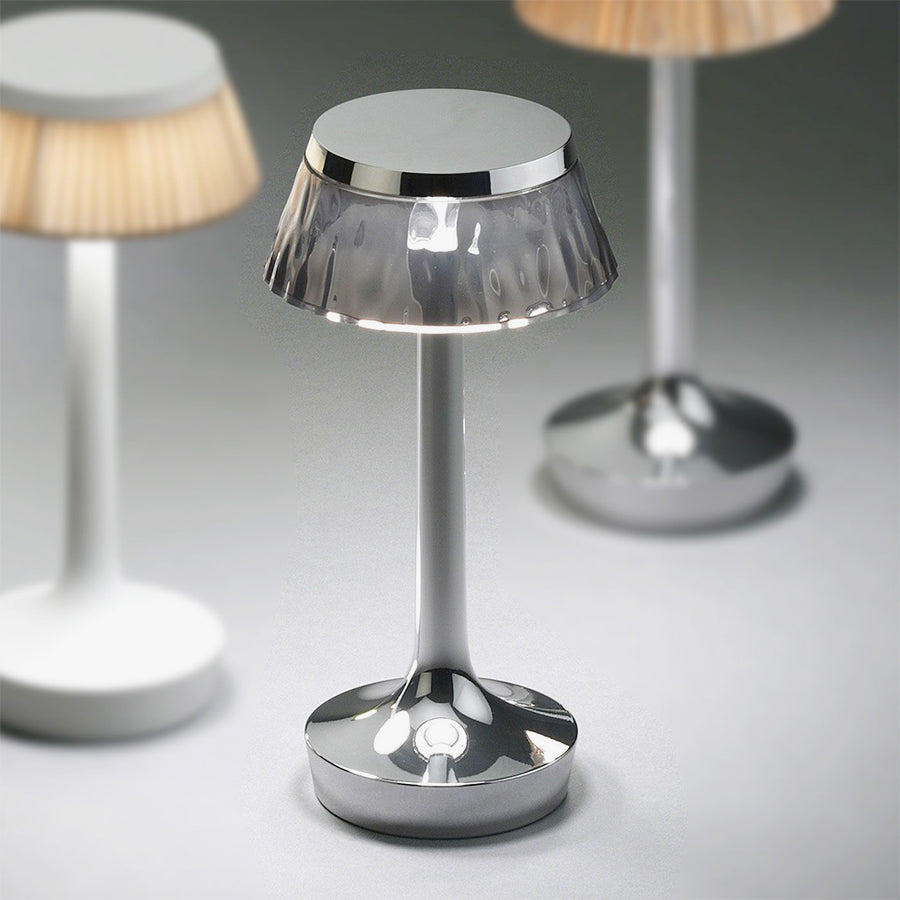 Bon Jour Unplugged Table Lamps in Fumee and Chrome