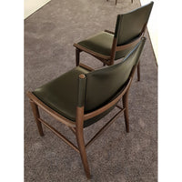Jens Chair In 400 Bottle Green Embossed Thick Leather