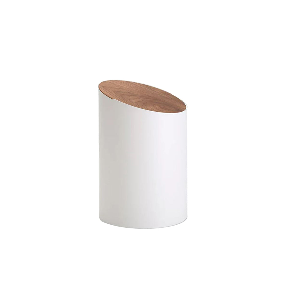 Swing Bin in White + Cover in Walnut (Small)