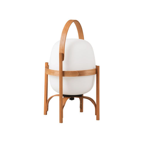 Cesta Batería Table Lamp in Cherry Wood with White Opal