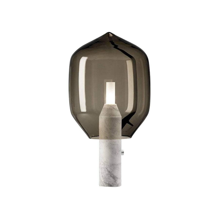 LIGHTHOUSE TABLE LAMP IN GREY BLOWN GLASS AND CARRARA WHITE MARBLE BASE