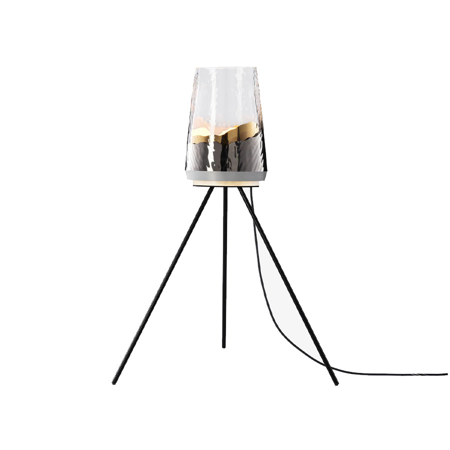 Flux Floor Lamp in clear glass and aluminium frame