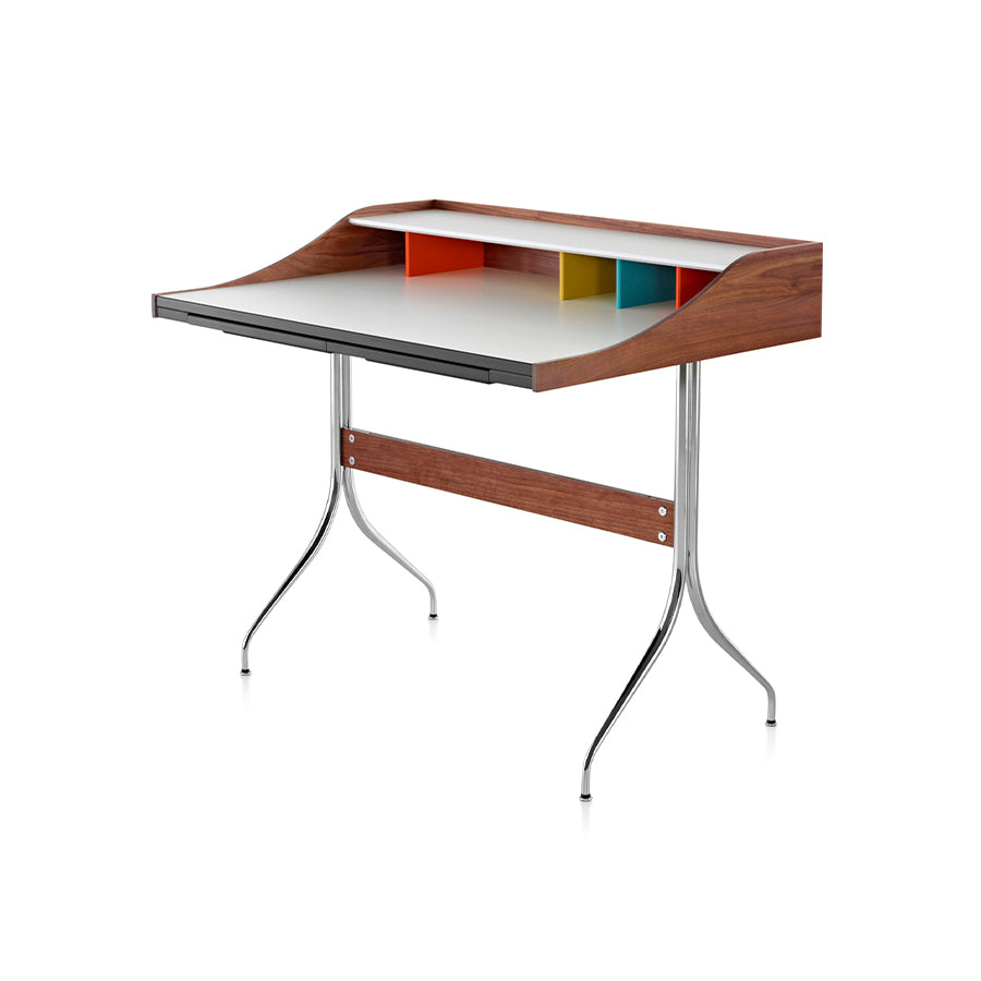 Nelson Swag Legs Desk In White Top And Solid Walnut Side And Back Panels