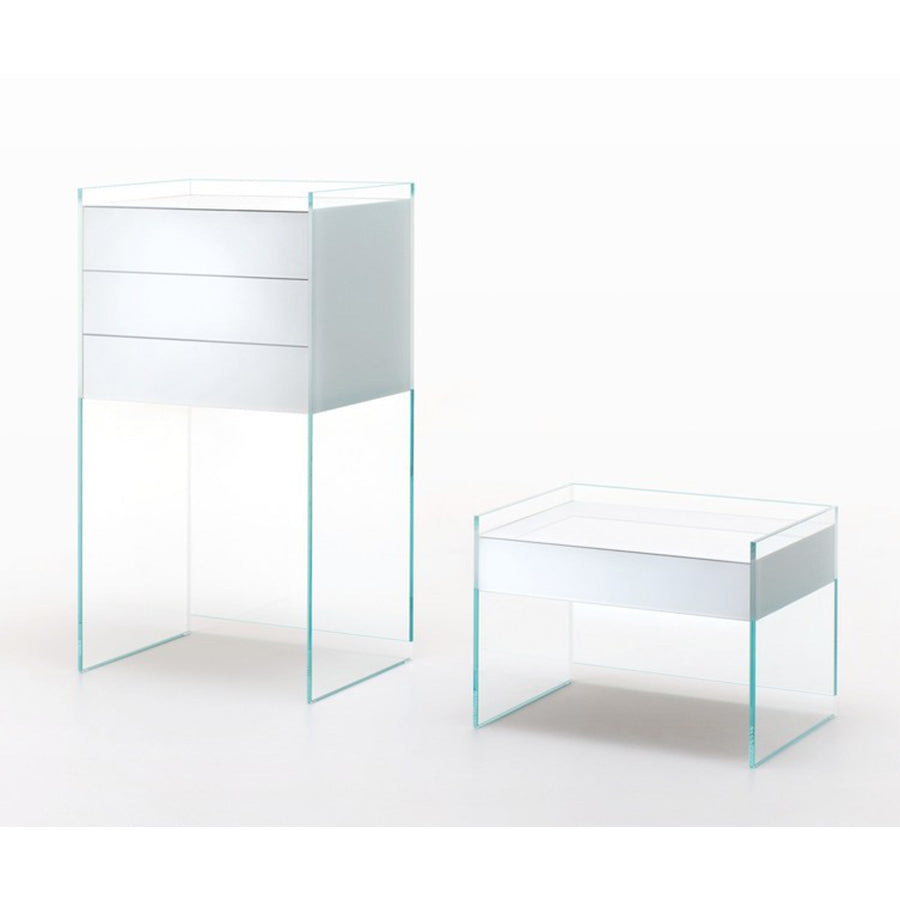 Float Storage Unit In Transparent Extralight Glass With Drawer In Viola